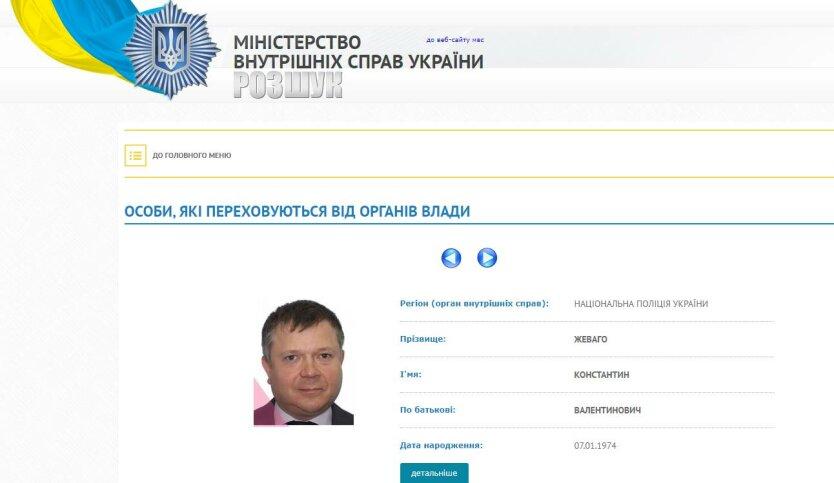 Константин Жеваго, сайт МВД Украины