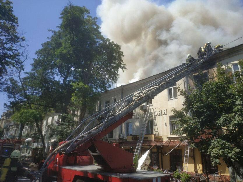 Пожар в центре Одессы