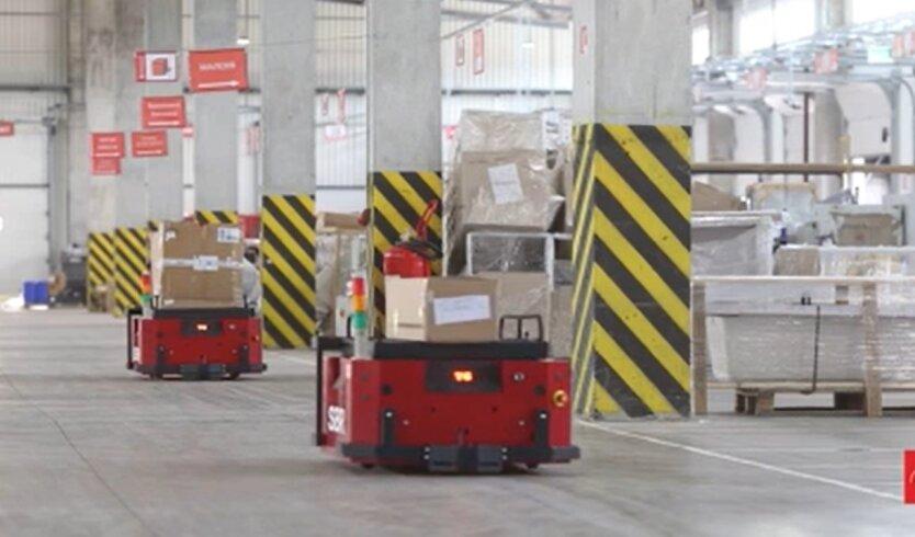 Роботизированные тележки, Новая почта, перевозка грузов