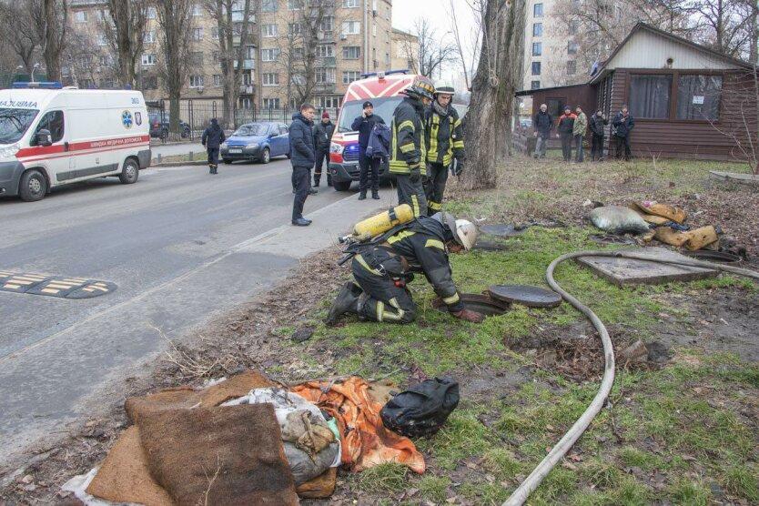 пожар, теплотрасса, Киев