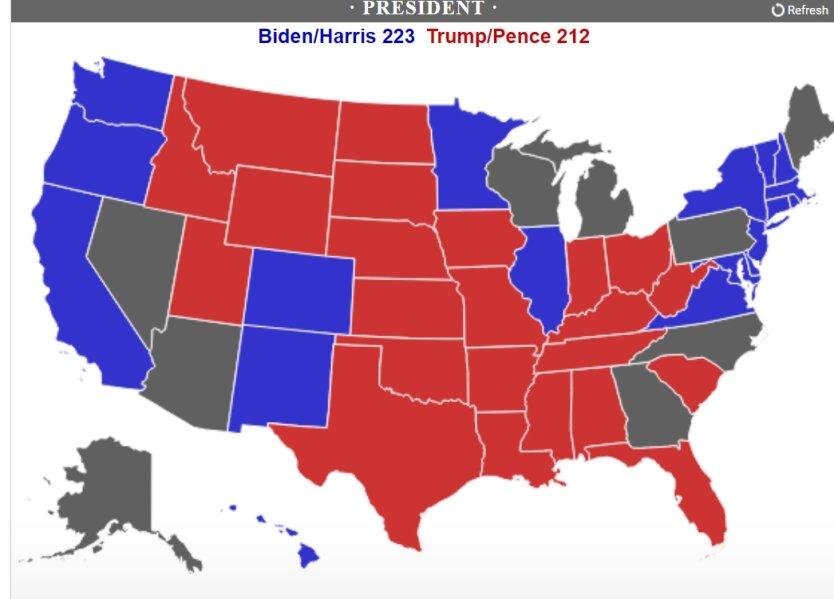 Результаты выборов президента США: Трамп и Байден бьются за каждый штат