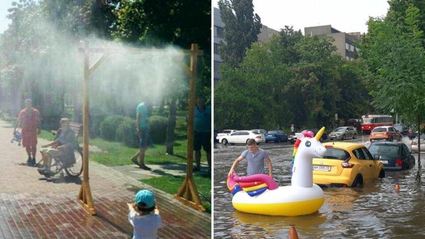погода в украине, грозовые дожди, жара в июле