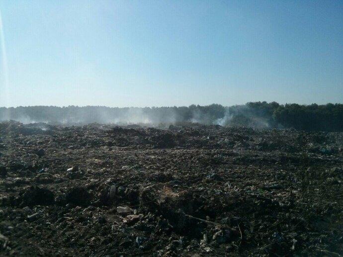 пожар на свалке под Киевом