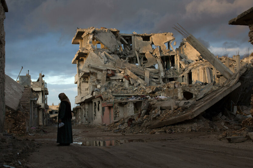 The aftermath of an invasion by the Islamic State  that was repelled, in Kobani, Syria.
