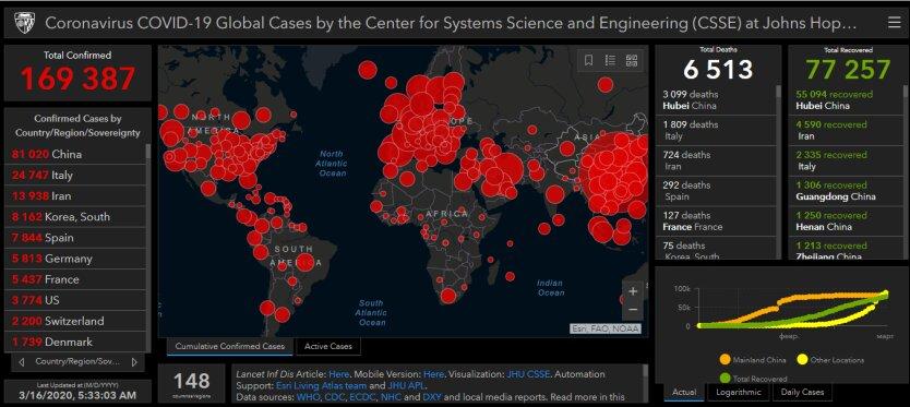 онлайн-карта коронавирус