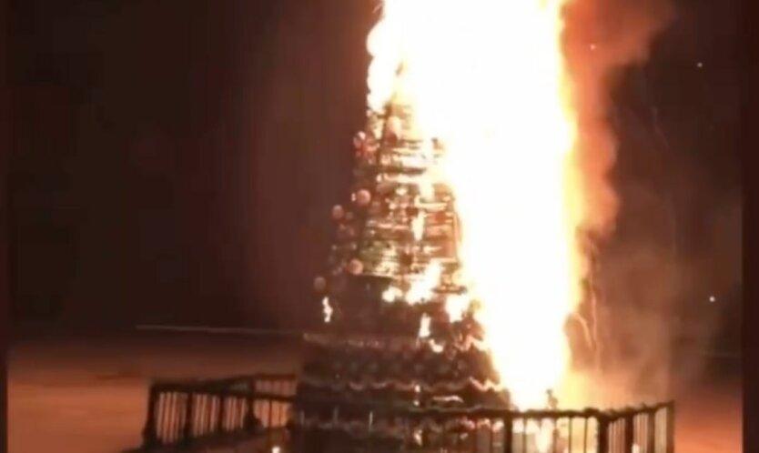 Горит новогодняя елка под херсоном