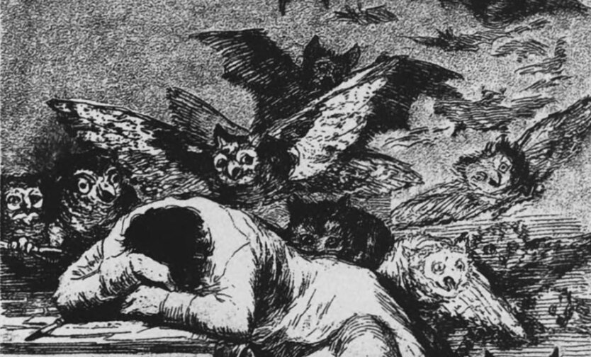 Франсиско Гойя. Сон разума рождает чудовищ. Фрагмент.