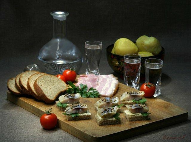 водка селедка закуска хлеб еда