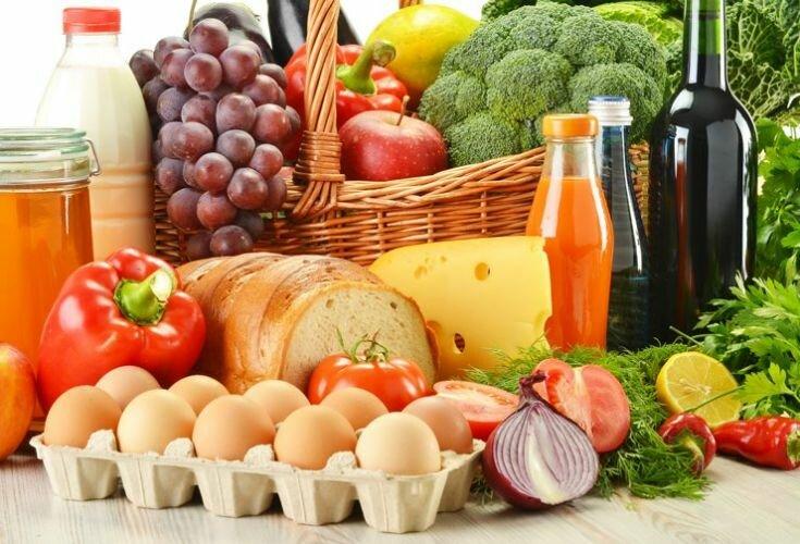 продукты яйца курица хлеб овощи вино фрукты виноград зелень сыр
