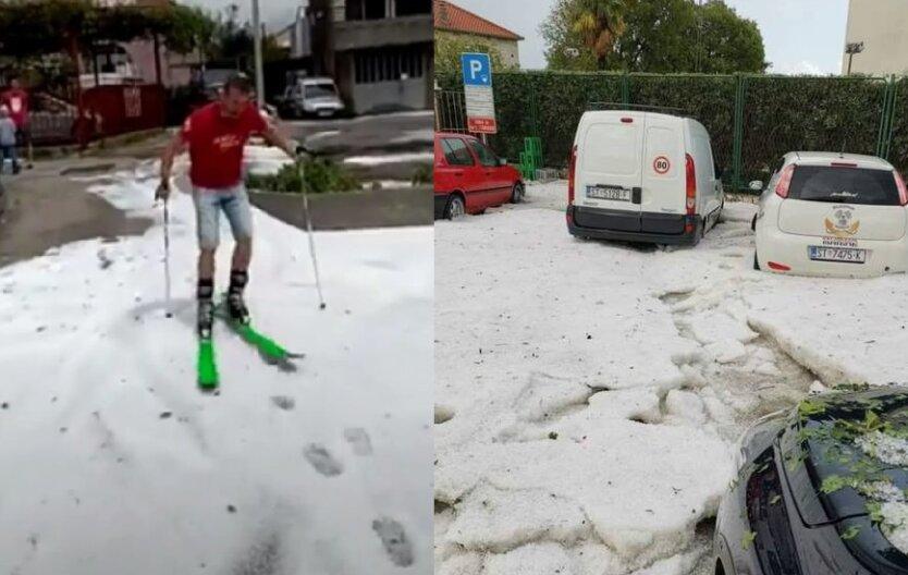 В Хорватии выпал снег в июне, снег в Хорватии