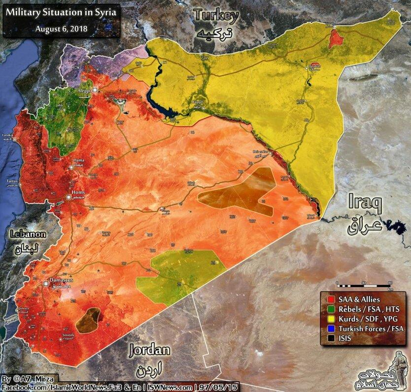 Карта ситуации в Сирии на начало октября 2018