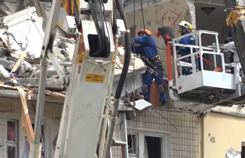 Взрыв на Позняках, поисково-спасательные работы, взрыв в доме