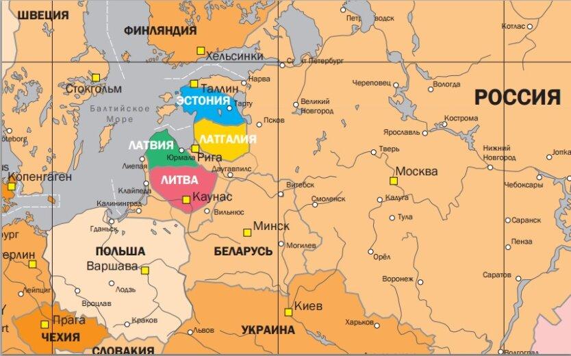 карта Ищенко Прибалтика