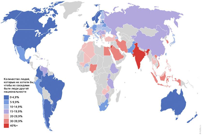 Карта расовой нетерпимости