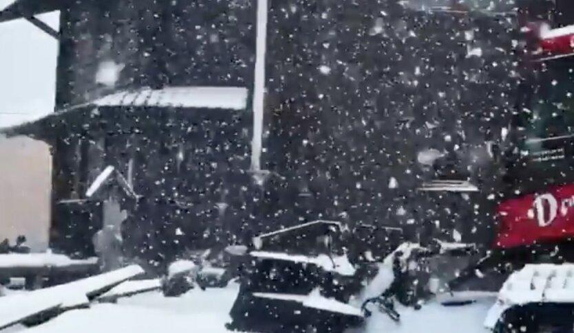 Снегопад в Карпатах