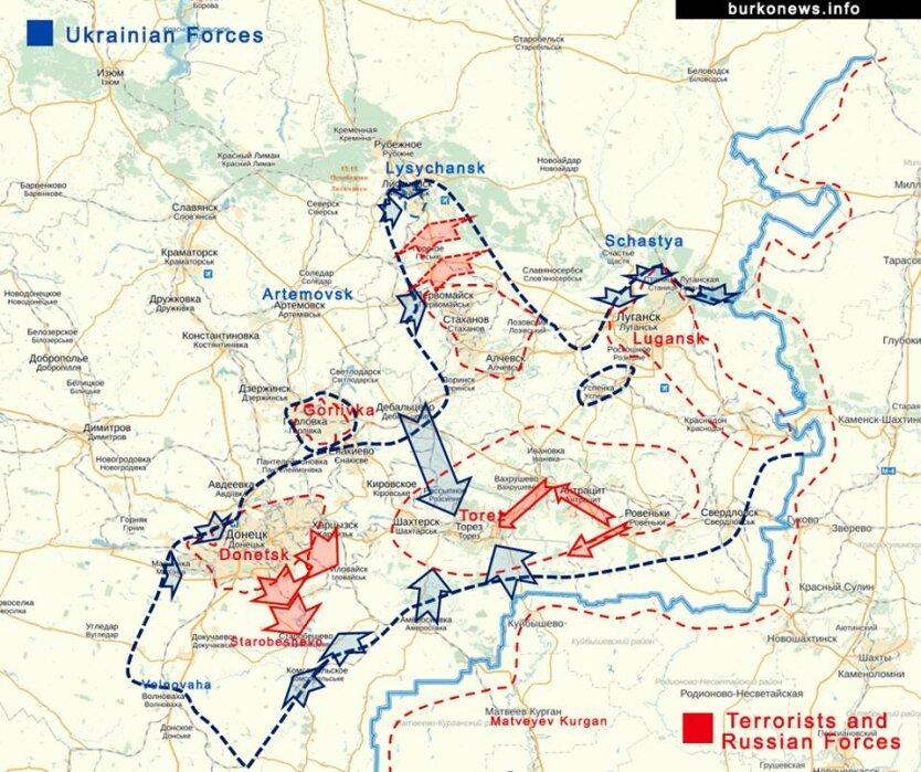 Карта боевых действий на Донбассе 27 июля