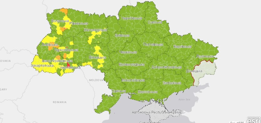 """Обновился список карантинных зон Украины: кто попал в """"красную зону"""""""