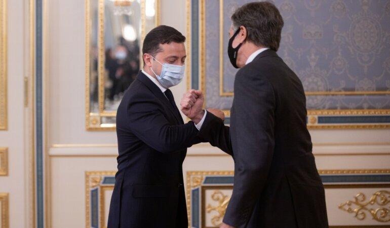 Владимир Зеленский встречает Госсекретаря США Энтони Блинкена в ОП.