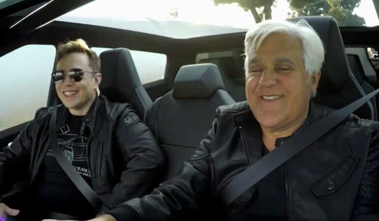 Илон Маск, Джей Лено, проездка на пикапе, Tesla Cyber Truck, HyperLoop