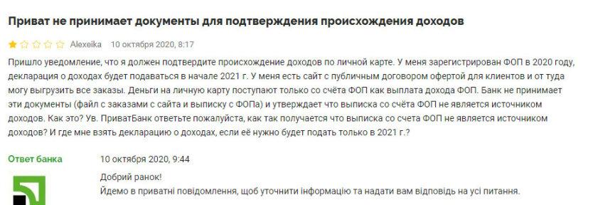 ПриватБанк не принимает документы ФОПов для подтверждения доходов