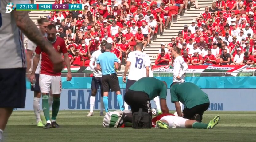 На матче Евро-2020 случилось ЧП с капитаном сборной Венгрии: видео