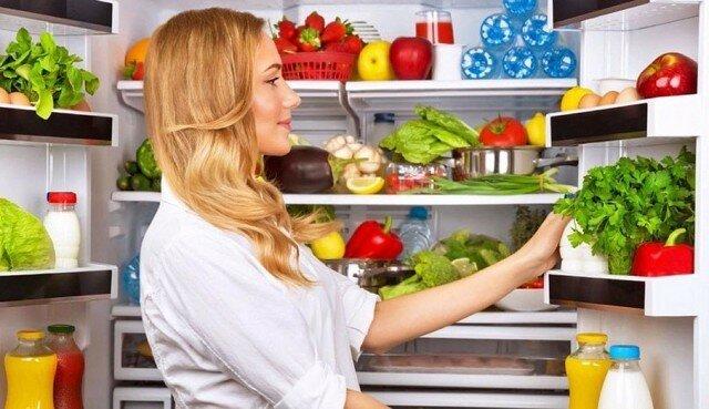 овощи и зелень, холодильник, продукты