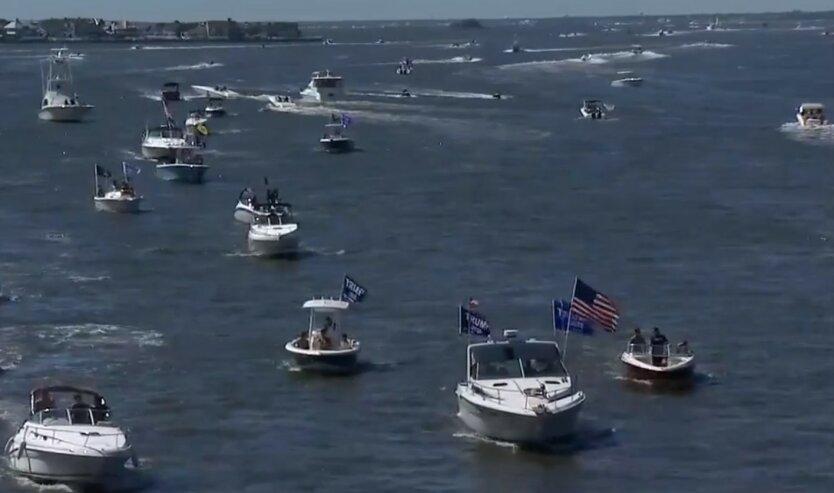 На параде в поддержку Трампа случилось ЧП с катерами