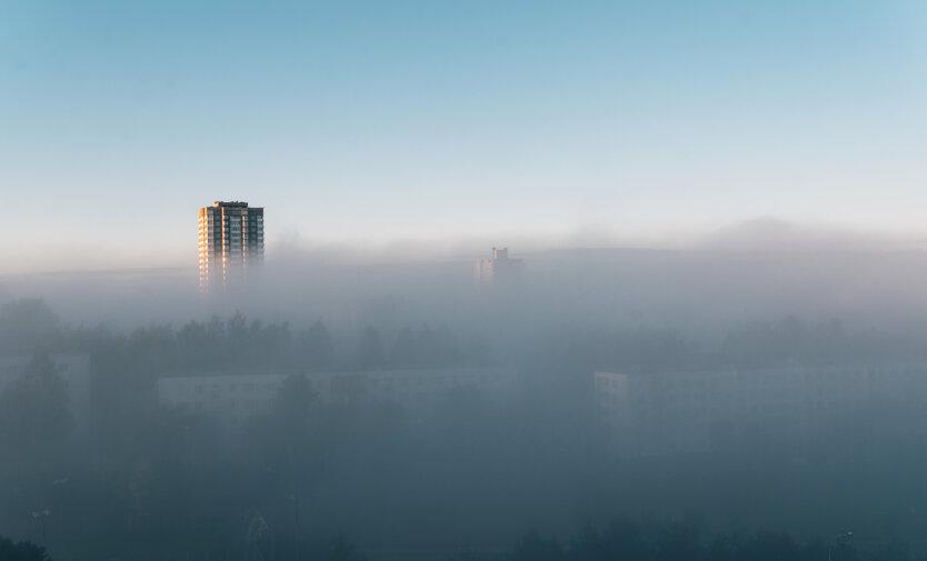 fog on the morning city street