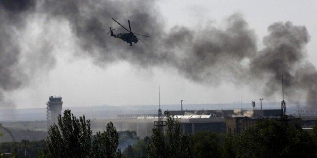 Ми-24 наносит удар в Донецке