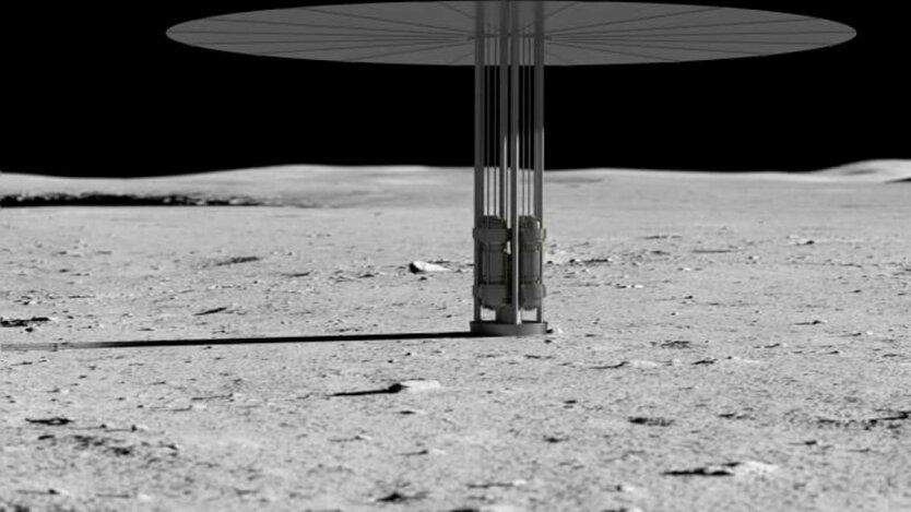 Ядерный реактор на Луне, иллюстрация NASA