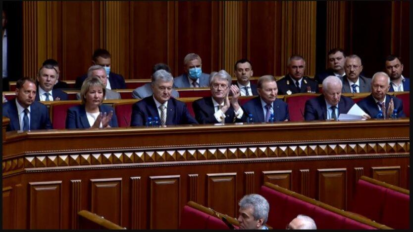 Виктор Ющенко, Леонид Кучма, Петр Порошенко в Раде