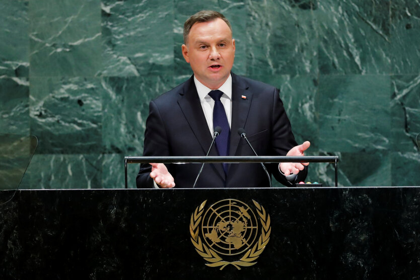 Poland's President Duda addresses the 74th session of the United Nations General Assembly at U.N. headquarters in New York City, New York, U.S.