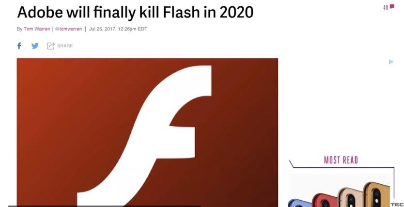 """Adobe Flash окончательно """"умер"""""""