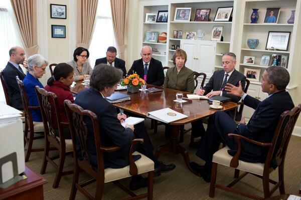 Заседание в Белом Доме, Кэтрин Эштон, Барак Обама