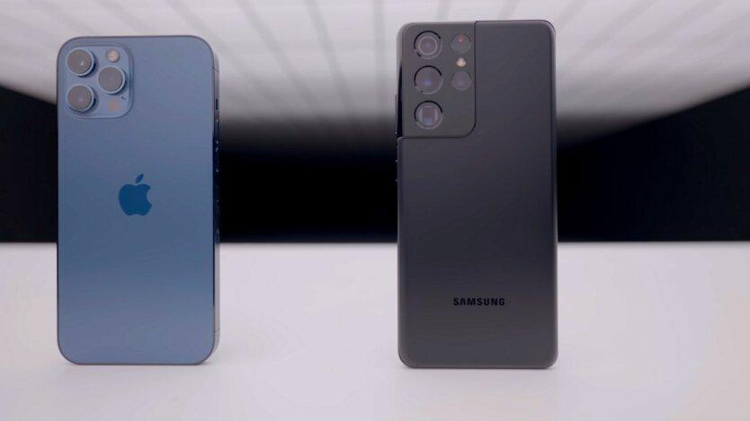 Смартфоны Apple и Samsung рядом