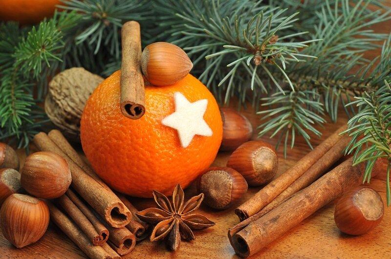 мандарины ель новый год орехи ваниль