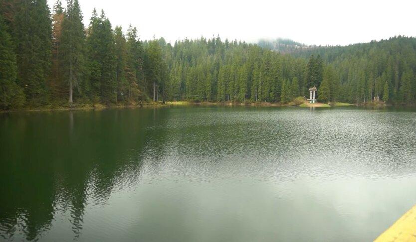 Озеро Синевир, стихийная свалка, мужчина выбросил гору мусора