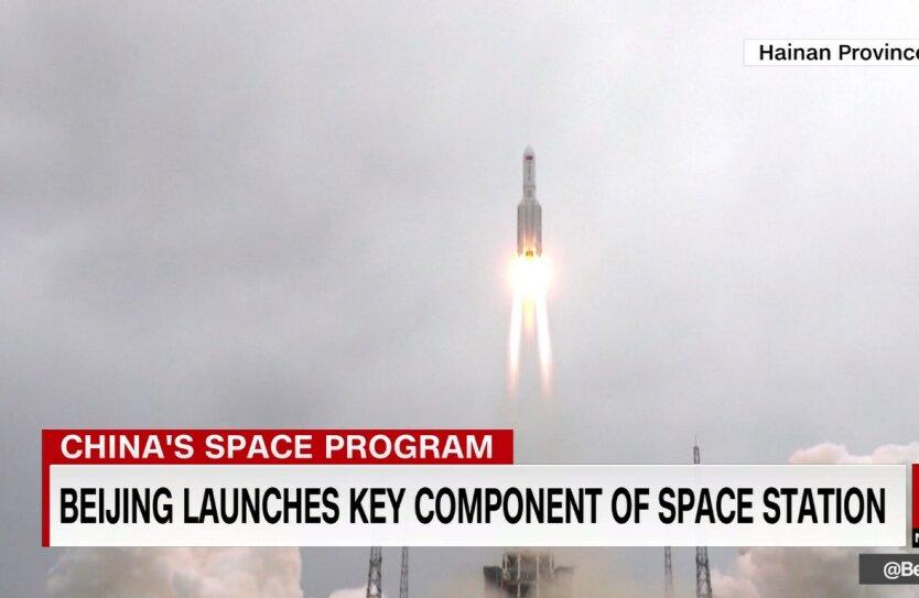 Запуск ракеты, Long March 5B, падение китайской ракеты на Землю