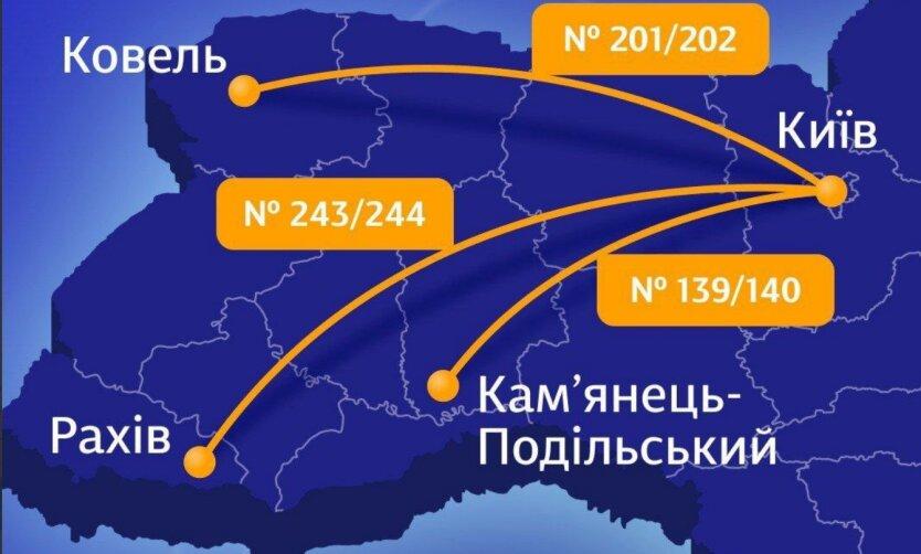 Маршруты УЗ из Киева